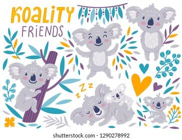 Vector set of cute koala bears. Funny cartoon characters are isolated on white background. Summer kids print. Koala's cub.