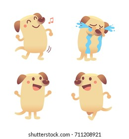 Vector set of cute Labrador dog character in different actions, emotions isolated on white background.