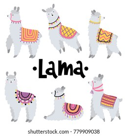 Vector set with cute lamas.