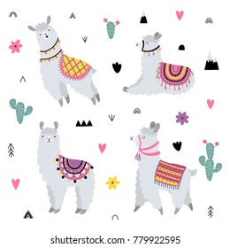 Vector set with cute lamas and decorative elements.