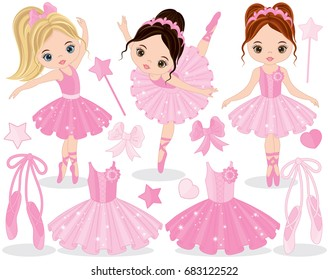 Vector set with cute little ballerinas, ballet shoes and tutu. Vector little ballerinas dancing.  vector illustration