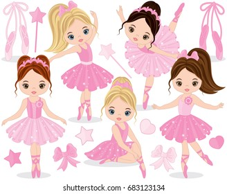 Vector set with cute little ballerinas, bows and ballet shoes. Vector little ballerinas in pink tutu dresses. Ballerinas vector illustration
