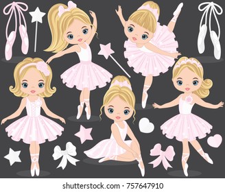 Vector set with cute little ballerinas, bows and ballet shoes. Vector little ballerinas in pink dresses. Vector ballerina. Ballerinas vector illustration