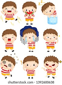 A Vector Set of Cute Little Boy Expressing Many Emotions with His Faces