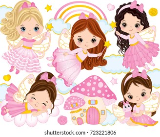 Vector set with cute little fairies, mushroom house, rainbow, clouds, stars and hearts. Vector little girls. Fairies vector illustration