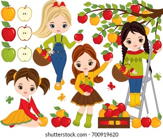 Vector set with cute little girls, apples and butterflies. Vector set with little girls picking apples. Apples vector illustration