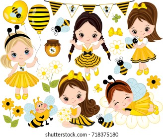 Vector set with cute little girls dressed in bee style, cartoon bees, flowers, balloons, jars of honey, butterflies and bunting. Little girls and bees vector illustration