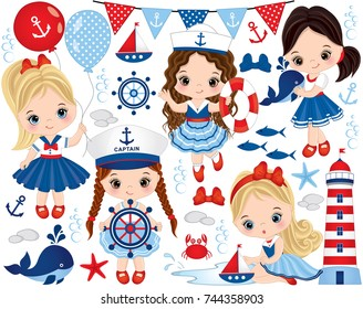 Vector set with cute little girls dressed in nautical style, whale, anchor, crab, fish, anchor, ship, seashells, flags, starfish and lighthouse. Little girls and nautical elements vector illustration
