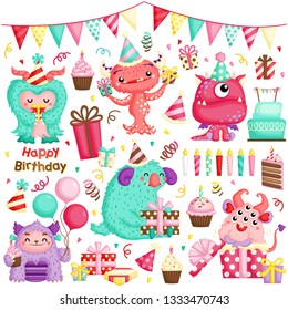 A Vector Set of Cute Little Girly Monster Celebrating Birthday with lots of Gifts and Cakes