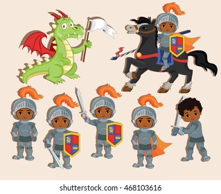 Vector set of cute little knights and a dragon with a flag.