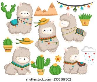 a vector set of cute llama and many cactus