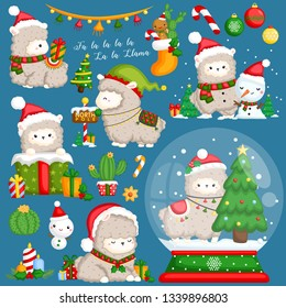 A Vector Set of Cute Llama Wearing Christmas Stuffs and Decorations