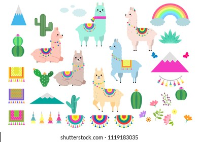 Vector set of cute llamas, alpacas and cactus collection elements for nursery design, poster, greeting, birthday card, baby shower design and party decor