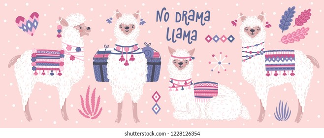 "Vector set of cute llamas. Bright summer poster with alpacas, plants and phrase ""No drama llama"". Collection of decorative scrapbooking elements."