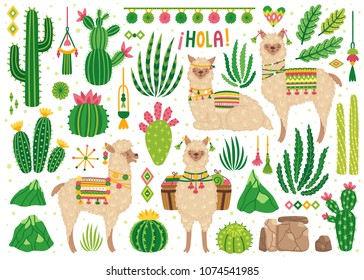 "Vector set of cute llamas and cacti. Bright summer poster with alpacas, cactus and phrase ""Hello!"" in Spanish. Collection of decorative scrapbooking elements. Isolated on white."