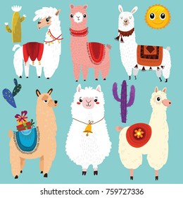 Vector set of cute Llamas.6 cartoon characters.