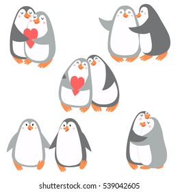 Vector set of cute in love penguins.