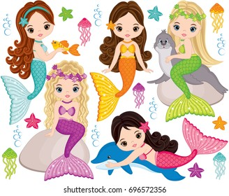Vector set with cute mermaids,