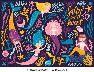 Vector set of cute mermaids, whale and sea plants. Funny cartoon characters and corals on the dark background. Summer clipart with mermaid girls.