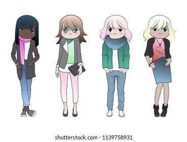 Vector Set of Cute Model Girls