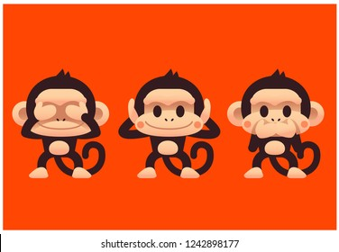Vector set of cute monkey closing eyes ears mouth, three wise monkeys