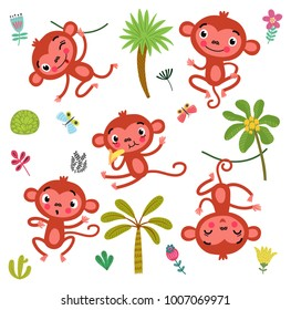 Vector set cute monkey and elements