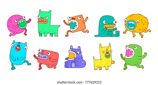 Vector set of cute monsters. Design for posters, postcards, clothing and books