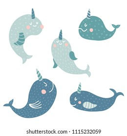 vector set of cute narwhals on white background