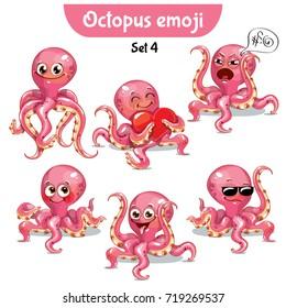Vector set of cute octopus characters. Set 4