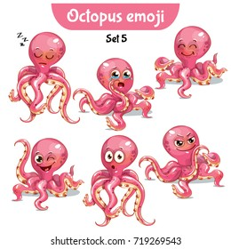 Vector set of cute octopus characters. Set 5