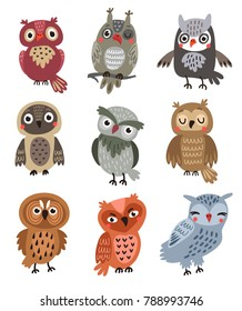 Vector set cute owls