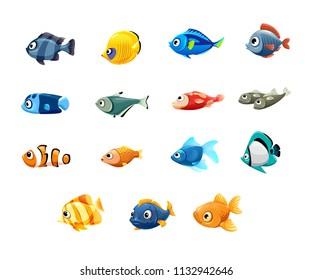 vector set of cute pet shop, fish, tropical fish, aquarium fish, clown fish, sardines, goldfish, sailboat