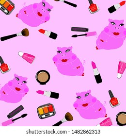 Vector set of cute pig ,adorable cartoon animal background,pattern with cosmetics