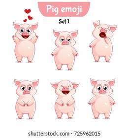 Vector set of cute pig characters. Set 1