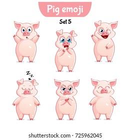 Vector set of cute pig characters. Set 5