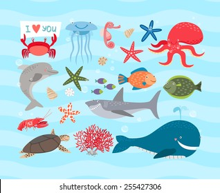 Vector set of cute sea animals. Dolphin and octopus and turtle, jellyfish and sea horse, shark and cancer, whale and fish, starfish and corals
