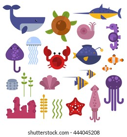 Vector set of cute sea animals creatures characters