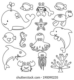 Vector Set of Cute Sea Creatures Line Art