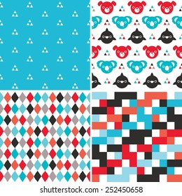 Vector set of cute seamless backgrounds for boys in red, blue and black. Fun hipster backgrounds for children with dogs, koalas, dolphins; and geometric patterns.