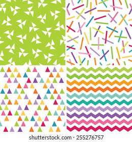 Vector set of cute, seamless geometric background patterns in bright rainbow colors for gift wrapping paper, surface patterns, textiles and scrapbooking.