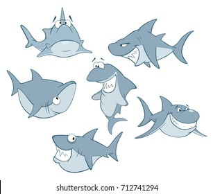 Vector Set of Cute Sharks for you Design. Cartoon Character ,