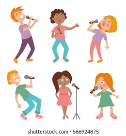 vector set of cute singing children on isolated background