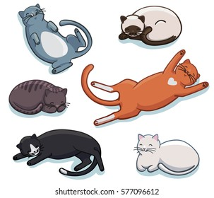 Vector set of cute sleeping cats. Different lazy sleepy lying kitties collection. Funny cartoon kittens in different poses and colors.