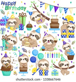A Vector Set of Cute Sloth Celebrating Birthday with Cakes and Many Gifts