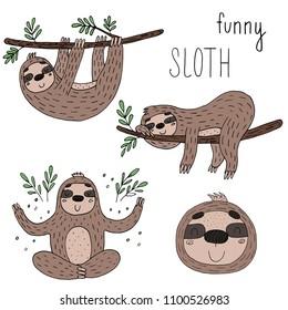 Vector set of cute sloths. funny vector illustrations. vector print