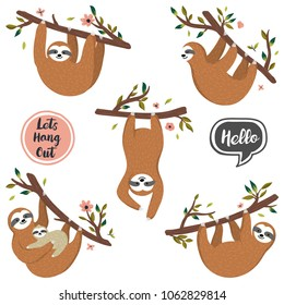 Vector set of cute sloths hanging on the tree includes mother with baby. Hand drawn collection of funny sloth, flowers, branch. Adorable rainforest animals isolated on white background