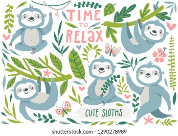 Vector set of cute sloths, leaves and flowers. Funny cartoon characters are isolated on white background. Summer kids print with sloths and butterflies.