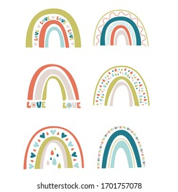 Vector set of cute spring rainbows.Its trendy abstract spring pastel color collection Ideal for any nurseries, children's clothing, to create fun, modern invitations for birthdays, baby showers