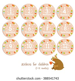 Vector set of cute stickers for children 1 - 12 months, in order to preserve memorable events. Bear - the shaman drinks tea. can be used as postcards, posters, invitation for a children's holiday.