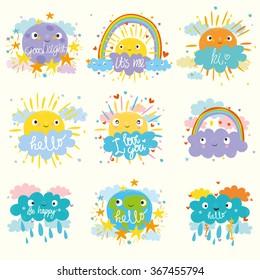 vector set. cute sun, moon, cloud and planet. funny cartoon.  Card for kids.